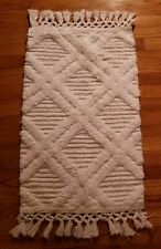 "Threshold White Indoor Accent Rug Tassles 33"" x 20"" New"