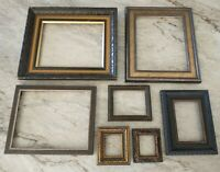 Vintage ornate Wood PICTURE FRAME Lot Recycle Arts Crafts Project Deco dark gold