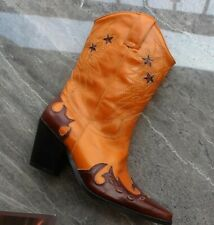 Custom-made Women Leather Pointy Toe Chelsea Cowboy Western Mid Calf Boots 35-41