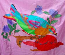 Original Silk Painting Tropical Bird Large Wall Hanging Signed 1980s Vintage Art