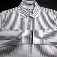 PETER MILLAR MEN'S (15 R) 100% COTTON BLACK STRIPED BUTTON-DOWN DRESS SHIRT EUC