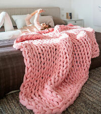 Xmas Chunky Knitted Thick Blanket Hand Yarn Bulky Throw Sofa Blanket 4 Sizes