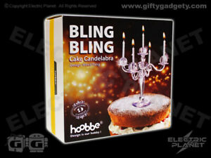 Candelabra Cake Topper, Clear Cut Glass Effect (Acrylic) Includes 9 Candles