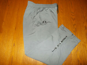 UNDER ARMOUR GRAY MESHED LINED ATHLETIC PANTS MENS LARGE EXCELLENT CONDITION