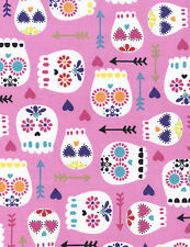 Timeless Treasures Modern Sugar Skulls Metallic Pink Fabric