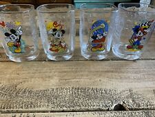 4 Walt Disney 2000 McDonalds Collector Square Drinking Glasses Mickey Mouse