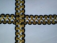galon or et noir, 20mm, couture, costume, scapbooking, medieval, braid gold,