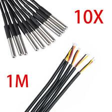 10x 1M Temperaturfühler DS18B20 Thermosensor Temperatur Wasserdicht Kabel