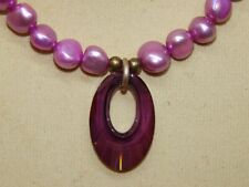 Natural Mauve Freshwater Pearls necklace Helios Crystal Pendant on Hand-Made