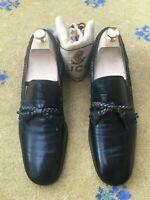 Gucci Mens Shoes Black Leather Loafer Tassel UK 8.5 US 9.5 EU 42.5 Vintage Woven