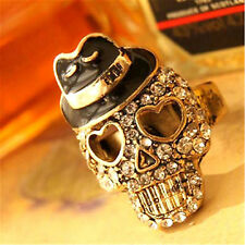 Adjustable black hat gold crystal skull ring biker punk