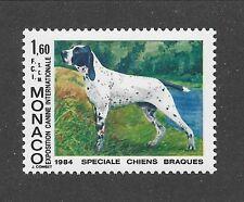 Dog Art Body Portrait Postage Stamp Pointing English Pointer Monaco 1984 Mnh