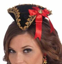 Red Bow Pirate Black Mini Tricorn Buccaneer Beauty Fascinator Costume Accessory