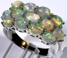 Ethiopian Welo Opal Ring Platinum Overlay Sterling Silver (Size 9) TGW 5.20 Cts