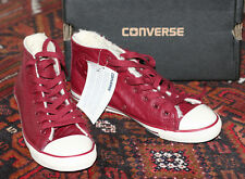 SIZE 3/36 CONVERSE ALL STARS IN BURGUNDY LEATHER WITH FLEECE LINING NEW IN BOX!