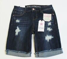 Vanilla Star Denim Blue Jean Bermuda Shorts Size 9 Cuffed Distressed Stretch