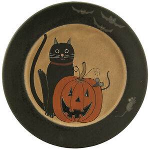 Country Farmhouse Wooden Fall Harvest Pumpkin Cat Mouse Bats Plate