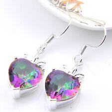 Valentine's Day Heart Fire Mystic Topaz Gems Silver Dangle Earrings 1 3/8 Inch