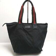 Gucci Sherry Line Large Shoulder Bag Handbag GG Monogram Black Red Green Vintage