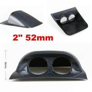 Carbon Fiber Look Universal Car 2in 52mm 2 Hole Dash Gauge Pod Mount Holder ABS