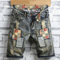 Mens Summer Denim Ripped Shorts Jeans Casual Short Pants Trendy Shorts Plus Size