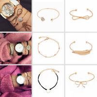 3PCS/SET Alloy Women's Gold Heart Bead Tassel Adjustable Bangle Bracelet Jewely