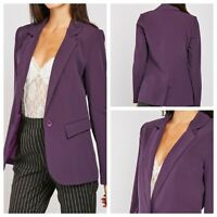 K Y CREATION Ladies Purple Jacket Size 14/16 T5 Pockets Lined Smart Blazer NEW