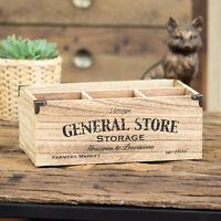 4 Compartment Vintage Wooden Crate Storage Box Milk Bottle Cutlery Holder Caddy
