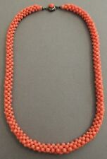 Natural Chinese Woven Coral Beaded Necklace Silver Clasp