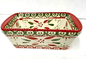 Temptations Old World Mini Loaf Pan Ovenware WITH LID NEW RED GREEN Christmas