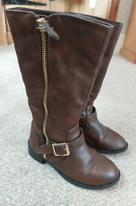 YOUNG DIMENSIONS Girls Brown Zip & Buckle Boots UK Infant Size 9/27