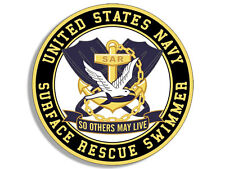 4x4 inch Round US Navy SURFACE RESCUE SWIMMER Seal Sticker -sar so others yellow