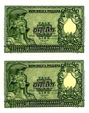 Italy ... P 91a ... 50 Lire ...  1951 ... CH *UNC*   Consecutive pair