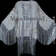 Maya Matazaro Embroidered Silk Fringe Jacket Kimono Silver Gray Birds & Flower