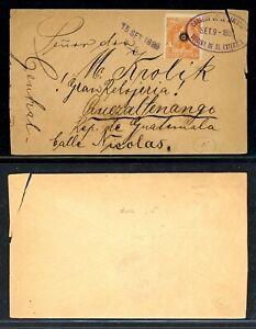 EL SALVADOR Postal History: Lot #4 1899 5c to QUEZALTENANGO GUATEMALA $$$$