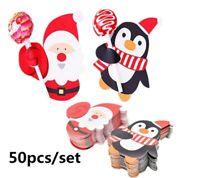50PCS Christmas Party Lollipop Lolly Holder Sugar-loaf Paper Card Holder Santa
