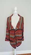 Womens River Island Aztec Tribal Ethnic Cape Coatigan Cardigan Size 16 Pockets