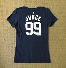 NY Yankees JUDGE #99 blue short sleeved tee shirt 100% Cotton Ladies Size Small