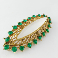 Green Oval Brooch - Vintage Lapel Pin - Gift for Women - Sustainable Fashion