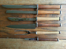 Danish Mid Century Modern Wood handled cutlery set -fork knives Colonial-used 6