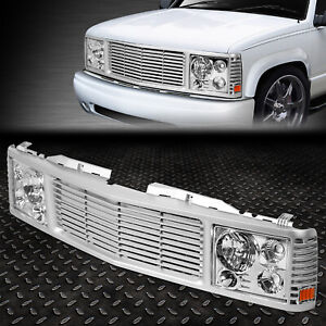 FOR 94-00 CHEVY GMC C/K 1500-3500 CHROME HEADLIGHT+SILVER GRILLE CONVERSION KIT
