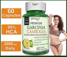 60 Capsules GARCINIA CAMBOGIA 95% HCA PURE Fat Burn Slim Weight Loss Natural
