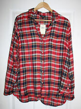 Joie Woman Checked Cotton-flannel Blouse Merlot Size L Joie