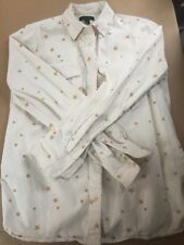 J. Crew Button Front Cotton Blouse Ivory with Gold Stars Women's Small - EUC