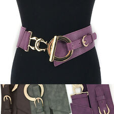 Women Fashion Wide Corset Gold Metal Hook Belt Elastic Stretch Waist Band S~XL