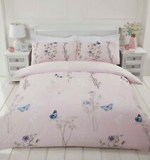 "Rapport ""Laura"" Floral Butterfly Reversible Duvet Cover Bedding Set Pink"