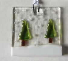 Fused Glass Handmade Christmas Tree Decoration Trees In The Snow