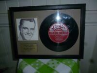 Rare Framed 50 Year Old Johnny Rebb Record From Festival Records Hall of Fame