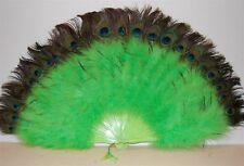 "MARABOU FEATHER FAN - LIME GREEN w/ Peaock 24"" x 14"" Burlesque/Dance/Mardi-Gras"