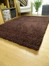 Small X Large Size Thick Plain Soft Shaggy Rug Non Shed 5cm Pile Modern Rugs Chocolate 60x120cm (2x4')